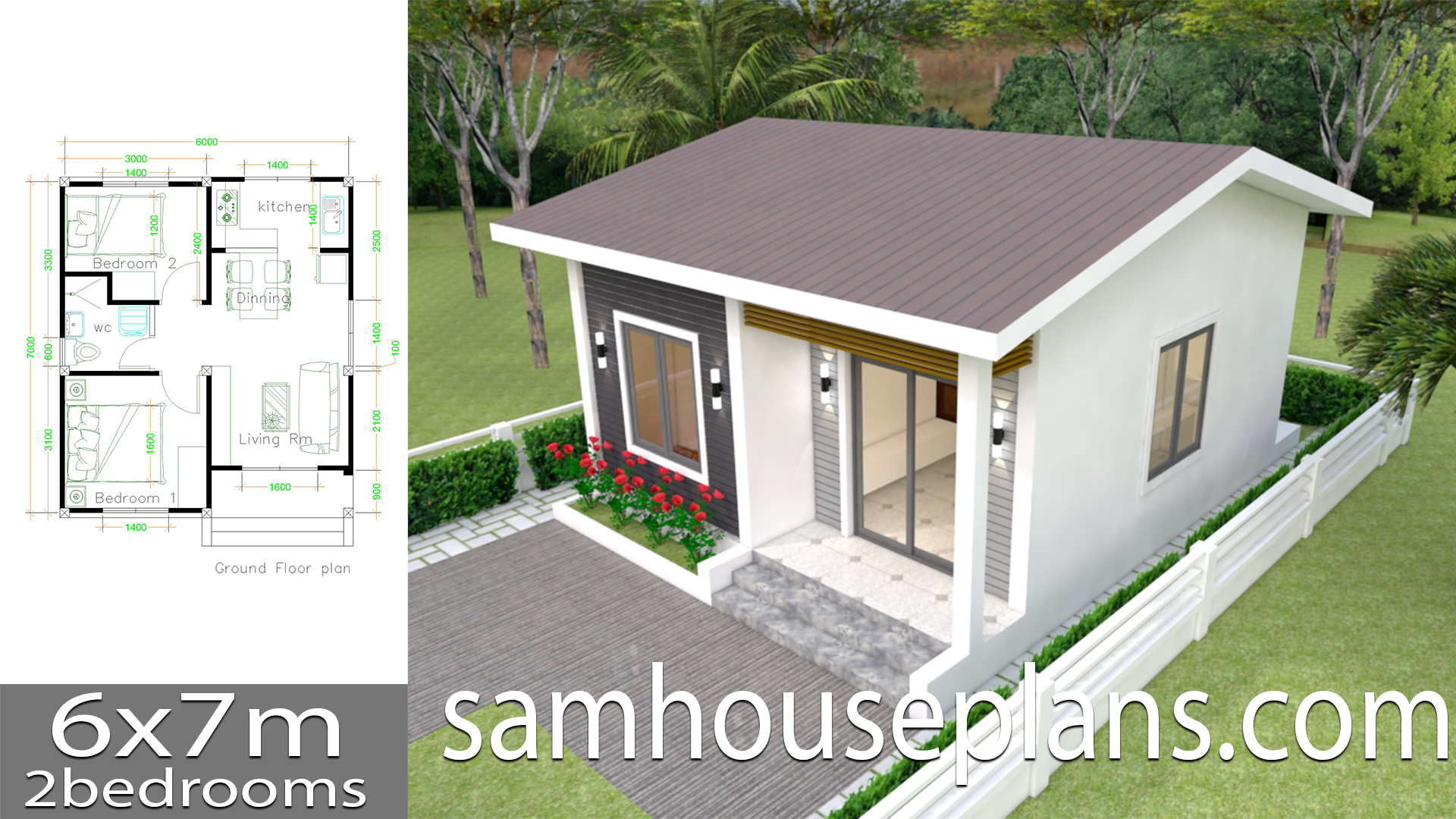 House Plans 6x7m with 2 bedrooms - SamHousePlans