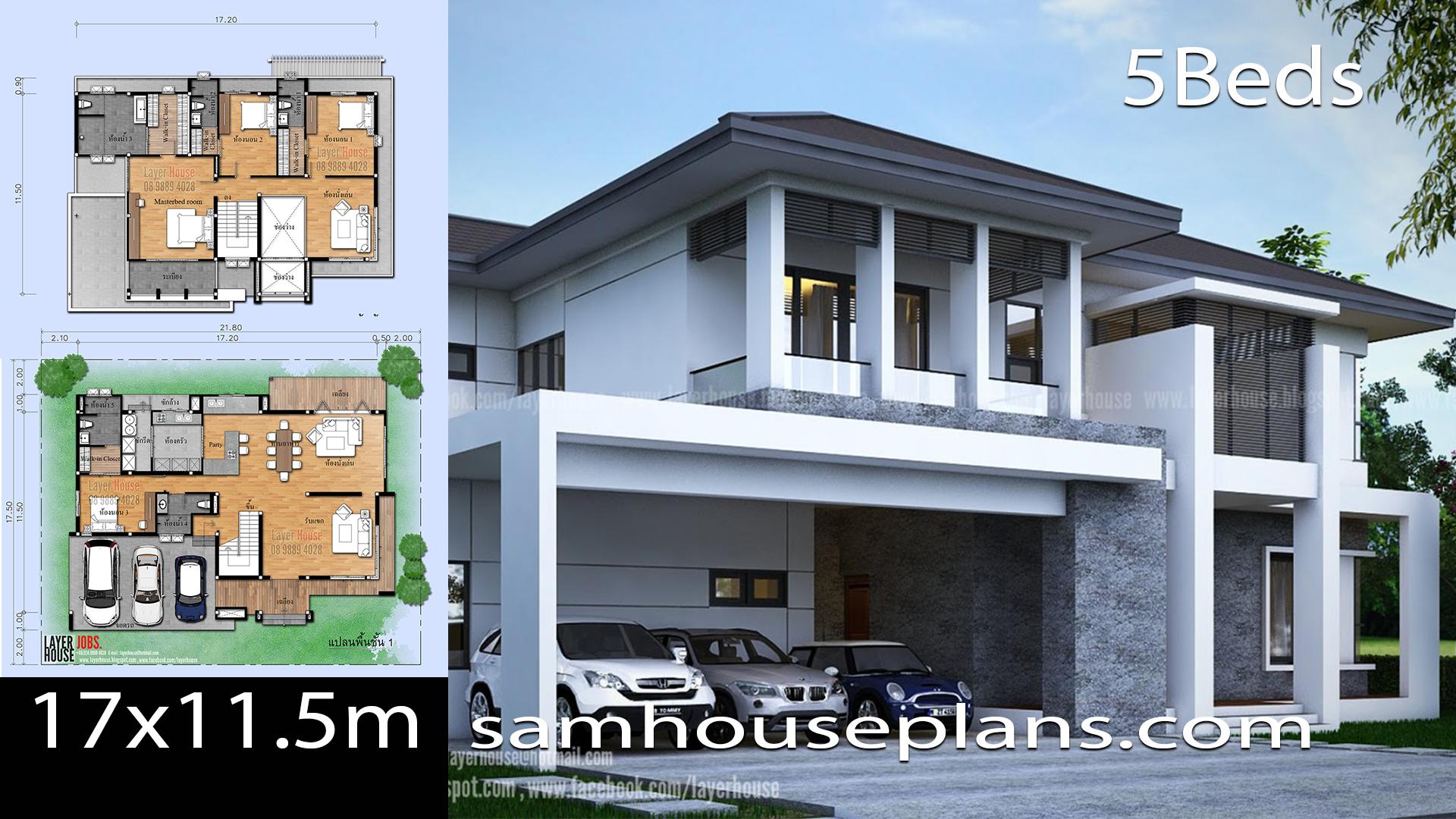 House Plans Idea 17x11 5m With 5 Bedrooms Samhouseplans