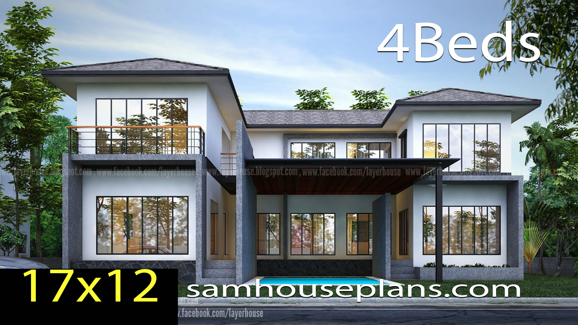 House Plans Idea 17x12 m with 4 bedrooms - Sam House Plans