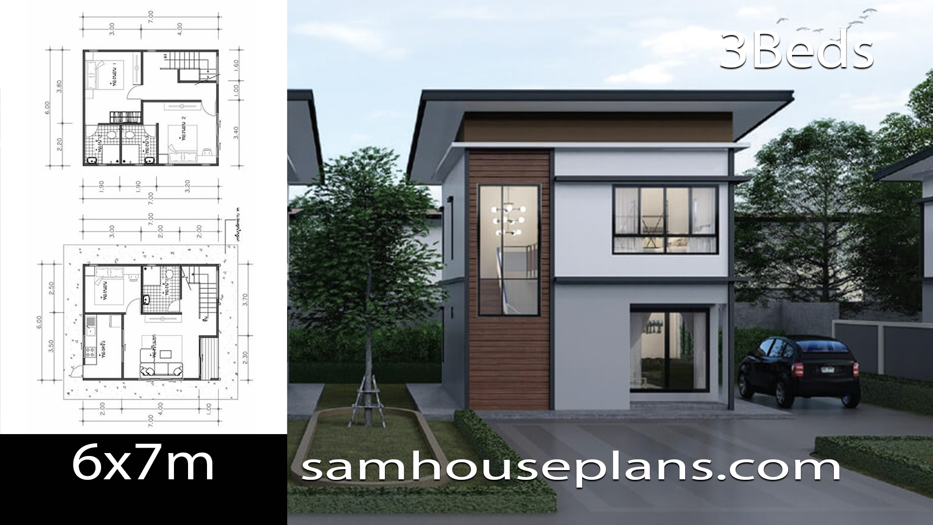 House Plans Idea 6x7 with 3 Bedrooms - Sam House Plans