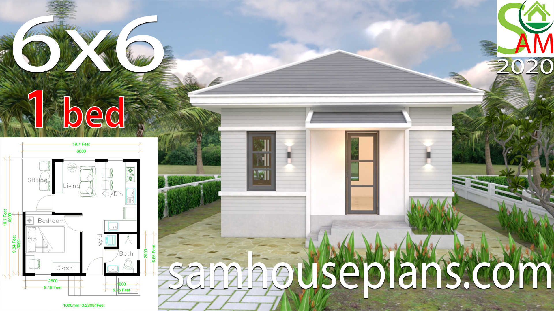 House Plans 6x6 With One Bedroom Hip Roof Samhouseplans