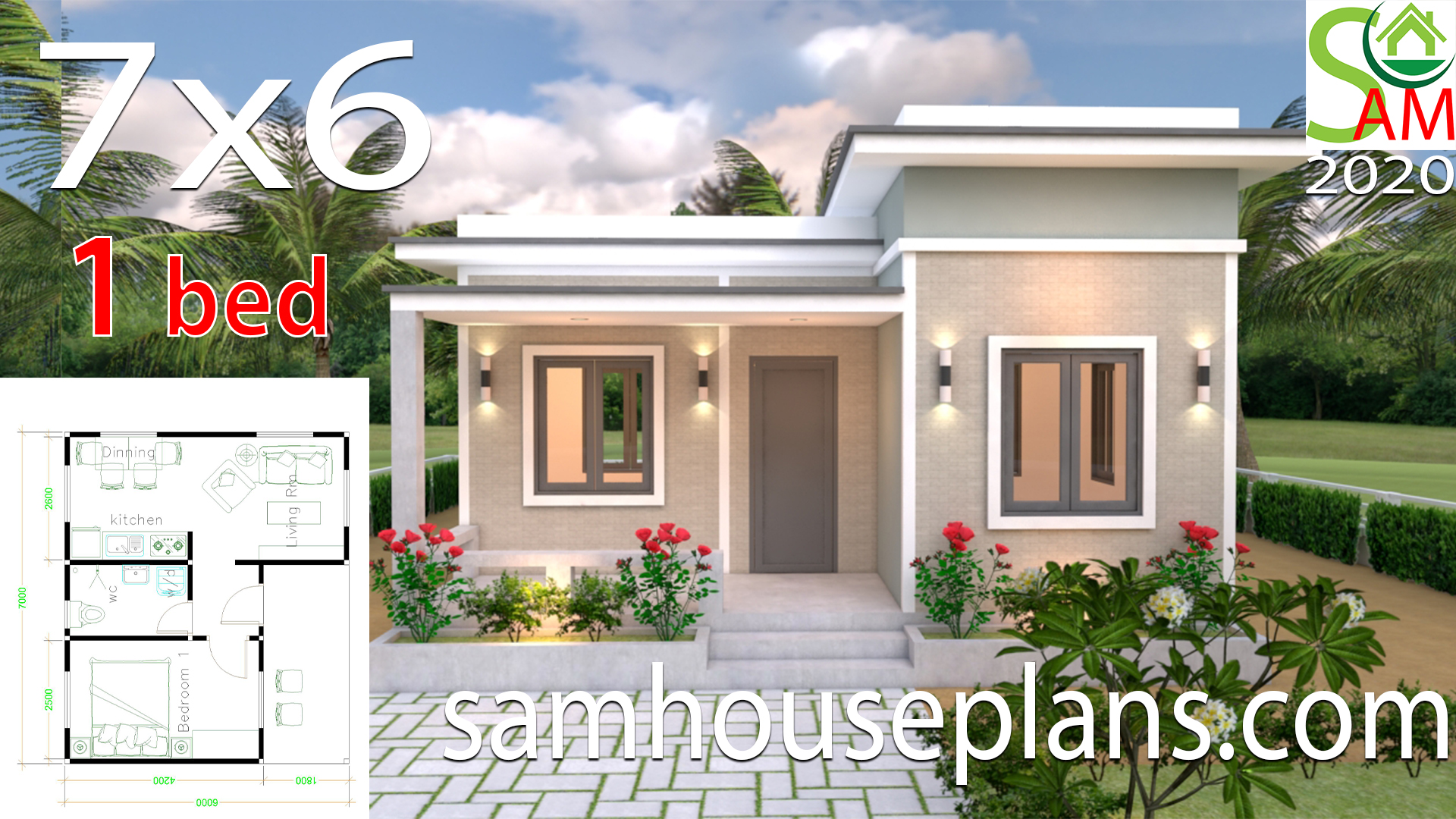 House Plans 7x6 With One Bedroom Flat Roof Samhouseplans