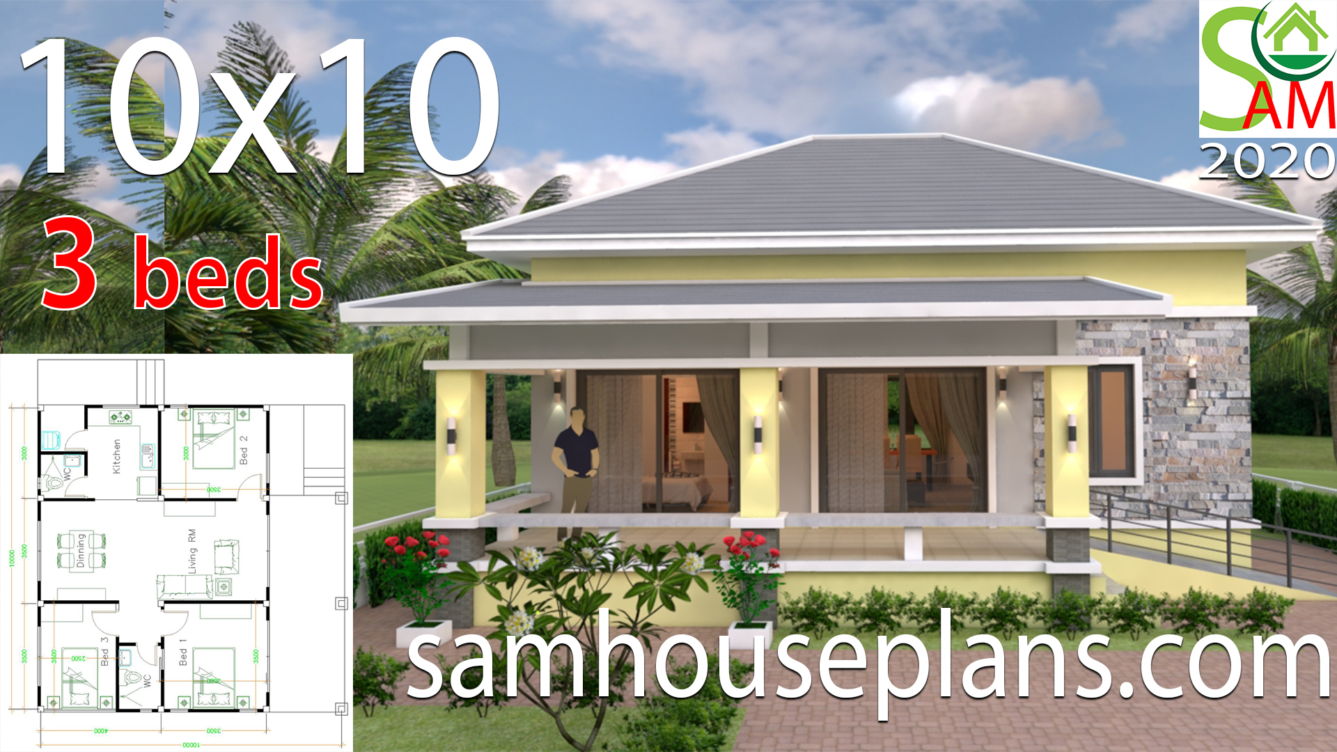 Small House Design 10x10 With 3 Bedrooms Hip Roof Samhouseplans