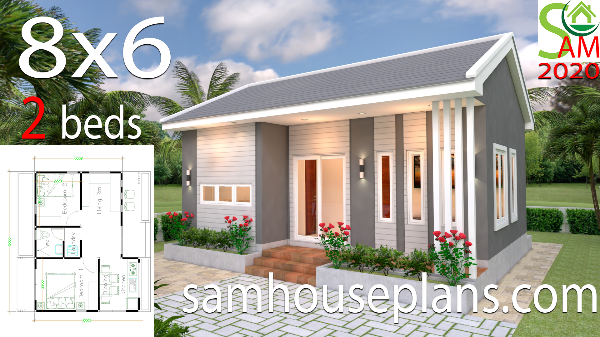 Small House Design Plans 8x6 With 2 Bedrooms Gable Roof Samhouseplans