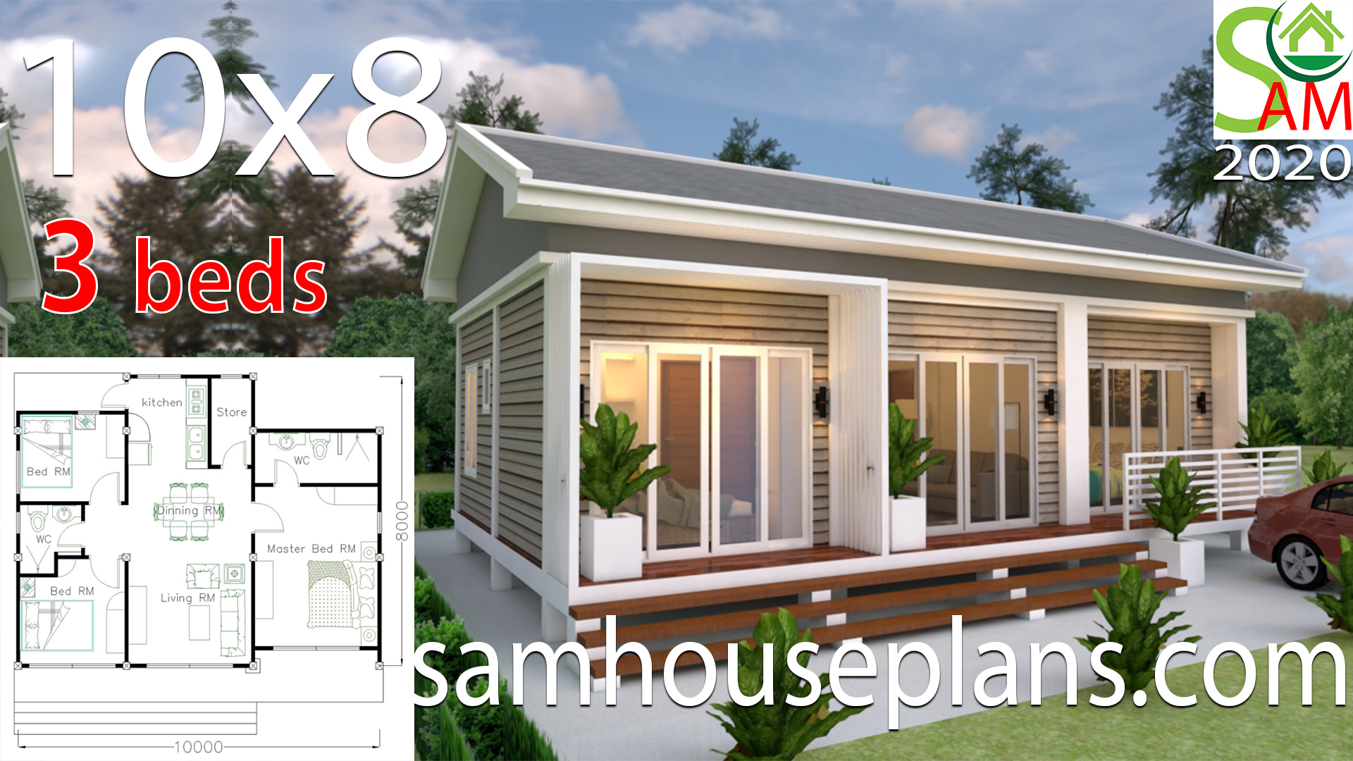 Small House Plans 10x8 with 3 Bedrooms Gable Roof - SamHousePlans