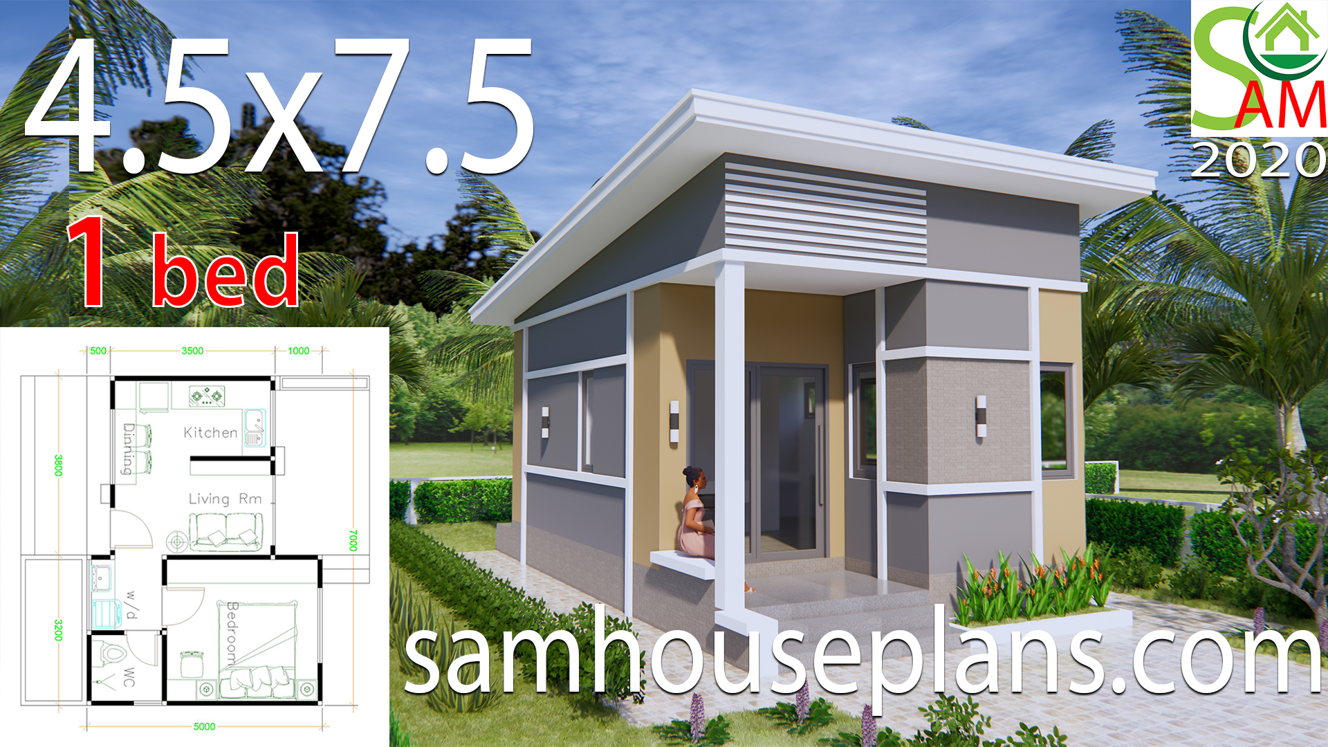 Small House Plans 4 5x7 5 With One Bedroom Shed Roof Samhouseplans
