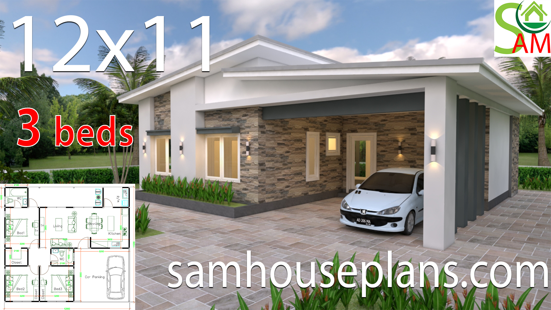 House Plans 12x11 With 3 Bedrooms Shed Roof Samhouseplans
