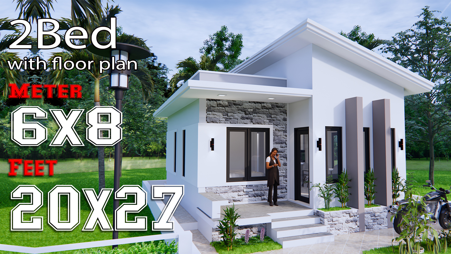 Small House Design 6x8 Meter 20x27 Feet Shed Roof Samhouseplans